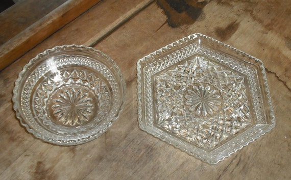 Vintage Set of 2 Pressed Cut Glass Fruit Bowl Plate Diamond Starburst Design Clear Berry Desert Round Holiday Wedding Home Candy Dish