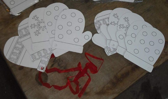 Destash Crafts - Color Your Own Mitten Ornament Gift Tag Kit Kids Activity Supplies Christmas Yule Holiday Winter Gloves Paper Cardstock