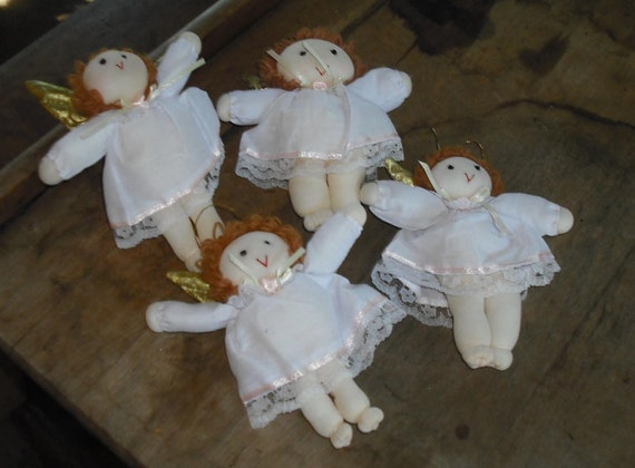Destash Crafts - Angel Ornaments Decoration Set of 4 Christmas Tree Soft Gold Wings Yarn Hair Lace Trimmed Gown Yule Holiday