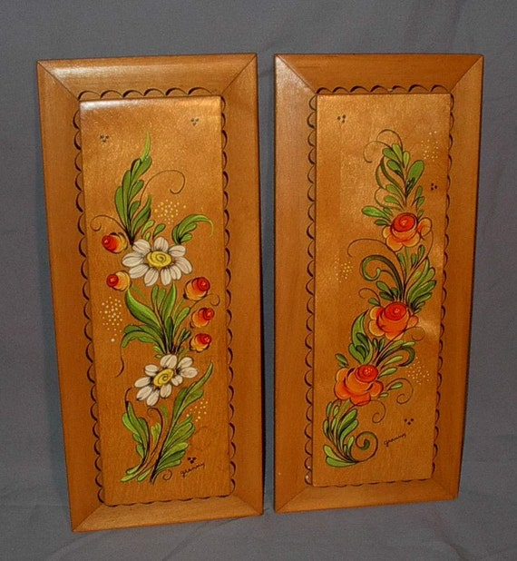 Vintage Hand Painted Wood Plaques Flowers Roses Daisies Retro Rectangle Wall Decor Rustic Home Country Chic Orange Yellow White Green