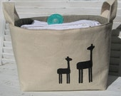 Giraffe Mama and Baby Fabric Basket READY TO SHIP