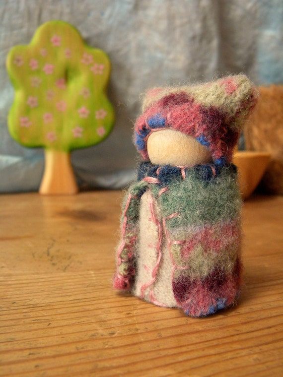 Waldorf peg doll, Waldorf Gnome, wool felt doll, Upcycled Doll