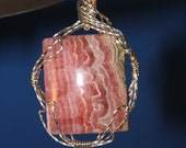 Pink Rhodochrosite Cabochon Crystal Sterling Silver Wire Wrapped Pendant Jewelry Gift