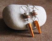 Orange Shell, Wood and Fine Silver Earrings