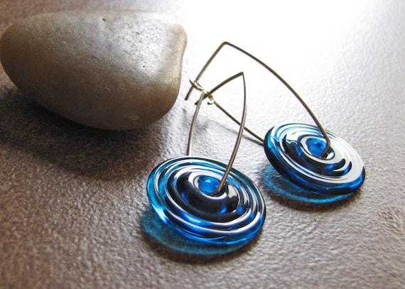 Caribbean Waters Artisan Lampwork Glass Earrings