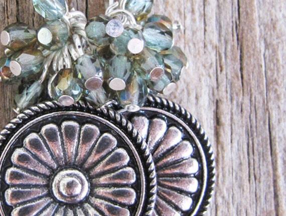 Mystic Blue Medallion Earrings