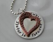 Sister Friend Copper Heart Necklace