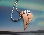 PEACE Copper Heart Necklace