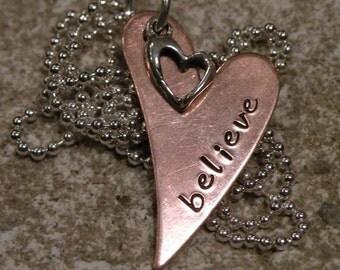 Believe Copper Heart Necklace