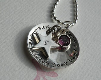 Dream Wish Birthstone and  Star Necklace