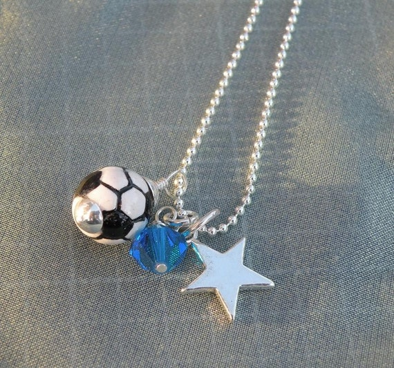 Sports Bling Soccer Star Necklace
