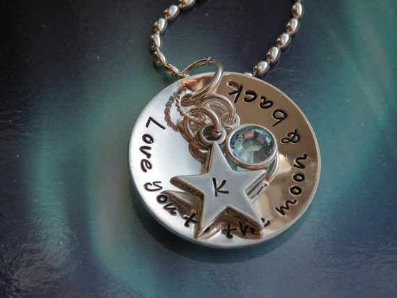 Love You to the Moon and Back Birthstone Crystal Charm Necklace