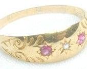 Antique European Ruby Ring Victorian 18K Gold