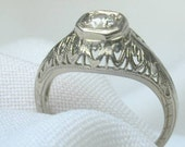 Antique Diamond Filigree Ring 18k White Gold