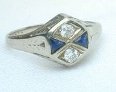 Antique Diamond Sapphire Ring/ On Layaway/ Deposite Only