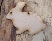 2 pieces Wood Rabbit design - Plywood 4 mm Unfinished - Ready to paint