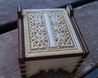 Secret Wood Box - Letters Collection - I -