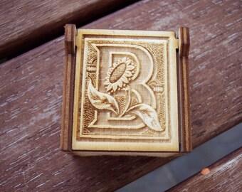 Secret Wood Box - Letters Collection - B -