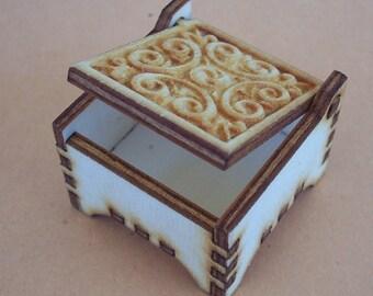 Wooden Box for Scrabble tile - pendant - ring or earrings