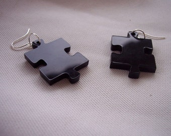 Black Puzzle Earrings