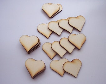 20 pieces Heart - Plywood 3 mm Unfinished - DIY Brouch, Tags, Pendant, Magnet etc