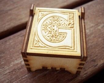 Secret Wood Box - Letters Collection - G -