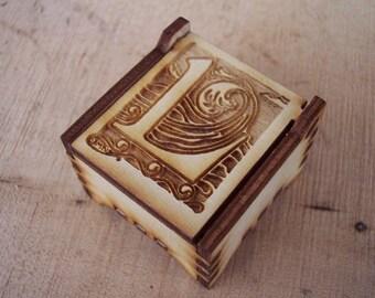 Secret Wood Box - Letters Collection - L -