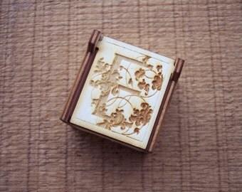 Secret Wood Box - Letters Collection - E -
