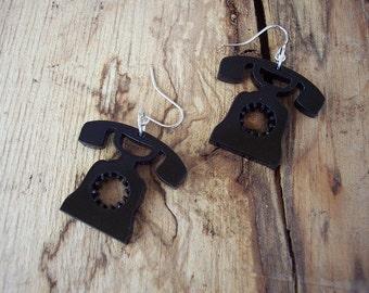 Black Telephone Earrings