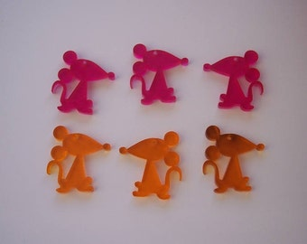 6 pieces Mouses charms (3 yellow and 3 pink)
