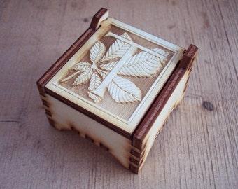 Secret Wood Box - Letters Collection - T -