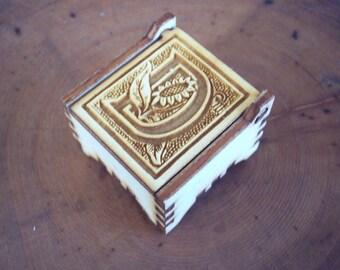 Secret Wood Box - Letters Collection - D2 -