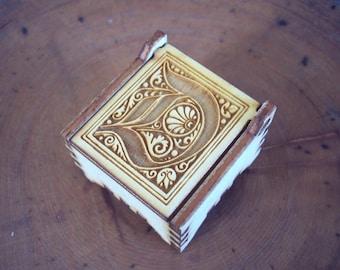 Secret Wood Box - Letters Collection - D3 -