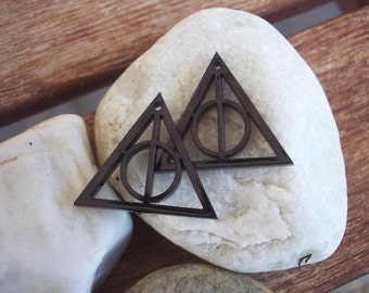 Black Deathly Hallows Symbol Earrings - Harry Potter - DIY - 2 pieces