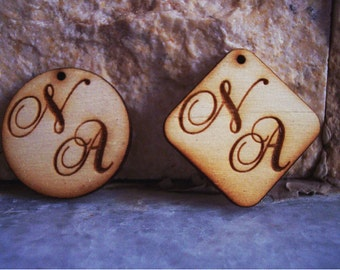 Custom Made Monograms Wedding Tags - 100 pieces