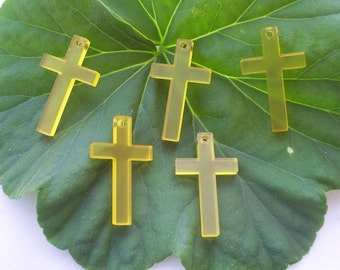 5 pieces Crosses charms (Yellow color)