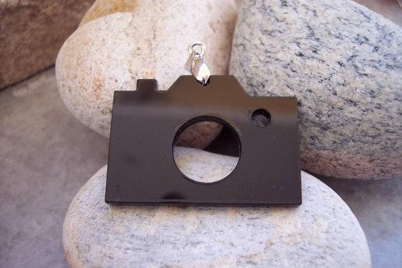 Black Photo Camera Pendant