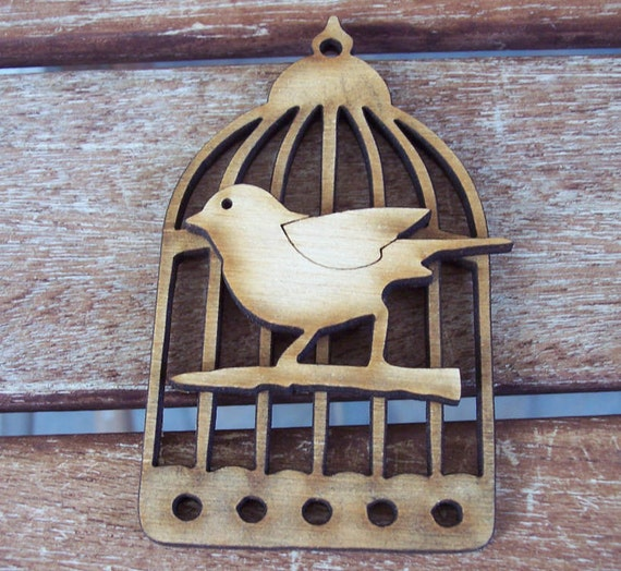 2 pieces bird in a cage design - Plywood 4 mm Unfinished - Ready to paint