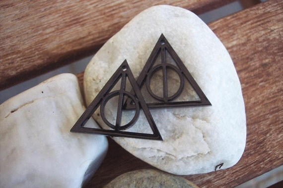 Black Deathly Hallows Symbol Earrings - Harry Potter - DIY - 2 pieces