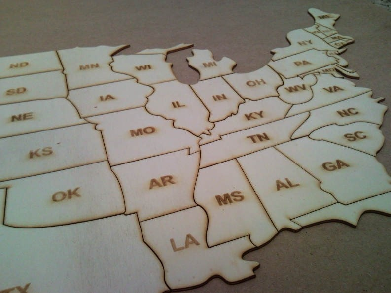 United States Of America USA MAP Wood Puzzle With Mm - Us map puzzle wood