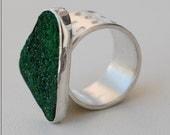 Green Sparkling Uvarovite Ring Sterling Silver