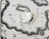 Santorini Map Sterling Silver Pendant Unisex