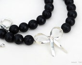 Lava Rock Necklace with Sterling Silver Ribbon
