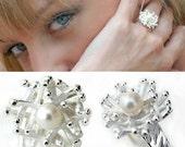 Pearl Ring - Sea Coral Inspired Silver Ring - Bridal Ring