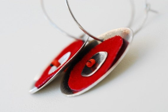 RED HOT SILVER EARRINGS / FREE SHIPPING