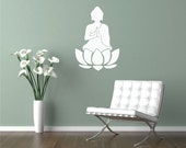 Meditating Buddha-- Vinyl Wall Decal -- 14 x 20