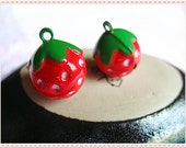 2pieces-colorful mini strawberry bells for purse bag making decor--(2color) (bag purse metal frame)