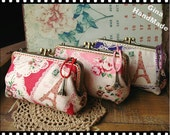 Eiffel Paris Two-compartment iphone case / Coin metal purse / Coin Wallet / Pouch coin purse / Kiss lock frame purse bag-GinaHandmade-1piece
