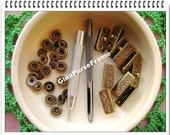 10sets (and tools) of Flower Rectangle-shape Snap (antique brass) Fastener/press button/four-combined button/popper for bag purse making