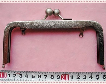 16cm (6 3/8 inch) fancy two pattern metal purse frame (color polished silver nickel)-1piece